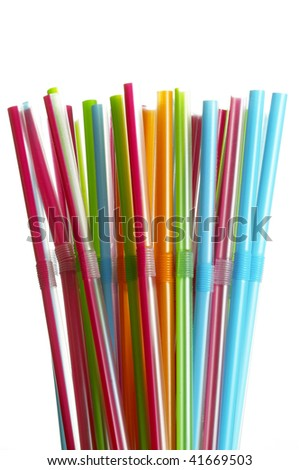 Wisp of colored plastic over bright white background #41669503