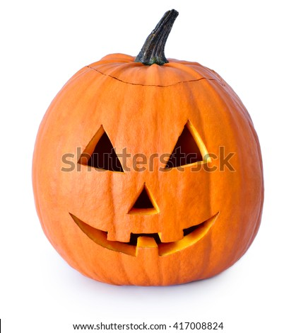 Halloween pumpkin with scary face. Jack O' Lantern isolated on white. #417008824