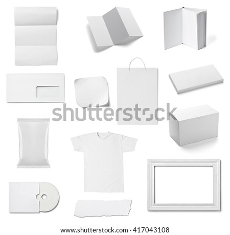 collection of  various white business print templates on white background. each one is shot separately #417043108