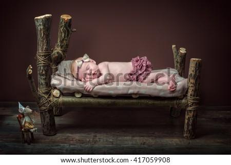 newborn, baby, sleep, wooden bed, birthday, dream, tale, fairy, tooth fairy