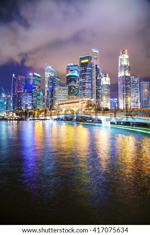 Singapore financial district at the night time #417075634
