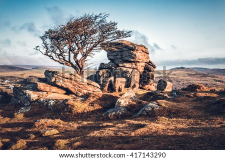 dartmoor devon england uk. Royalty-Free Stock Photo #417143290