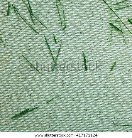 Green grass on a background of natural linen fabric                                #417171124