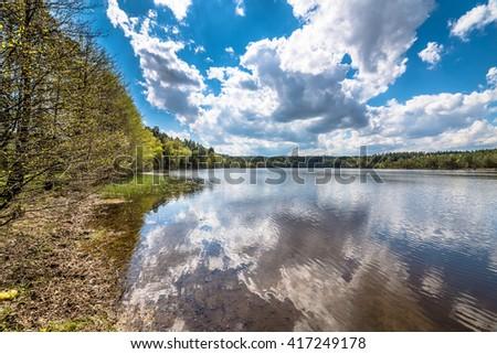 Spring lake landscape, beautiful nature scene #417249178