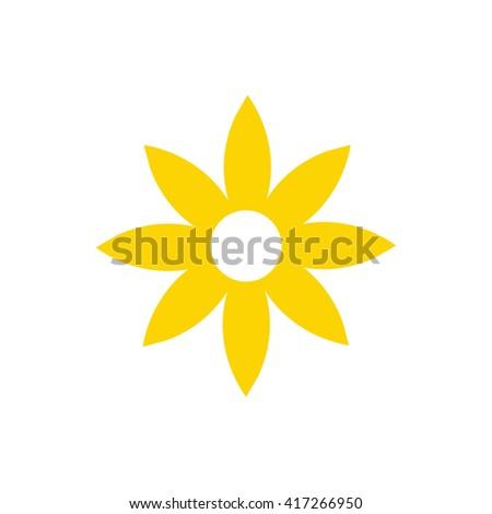 Yellow flower icon vector illustration #417266950