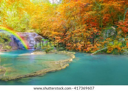 landscape of Wonderful Waterfall in Deep forest at Erawan waterfall National Park, Kanjanaburi Thailand. #417369607