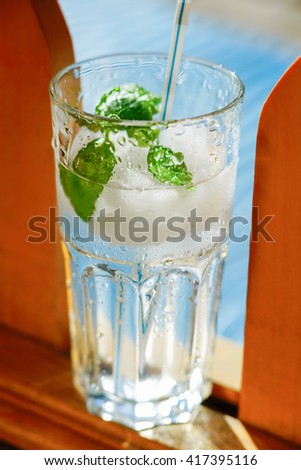 Fresh water with mint leaves #417395116