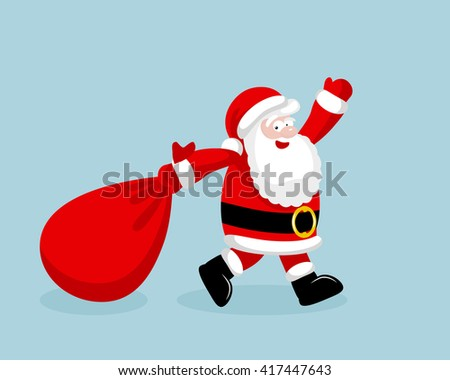 Santa Claus running with the bag of the presents. #417447643