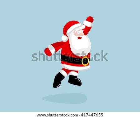 Santa Claus dancing and jumping.  #417447655
