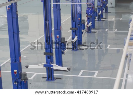 Bangkok, Thailand APRIL 2016: industrial building interior at Fiat Cars service factory. #417488917