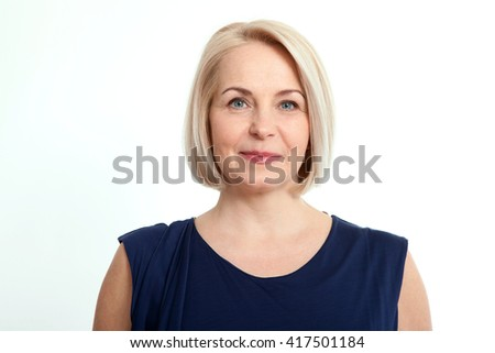 Happy woman portrait close up isolated over white background. #417501184