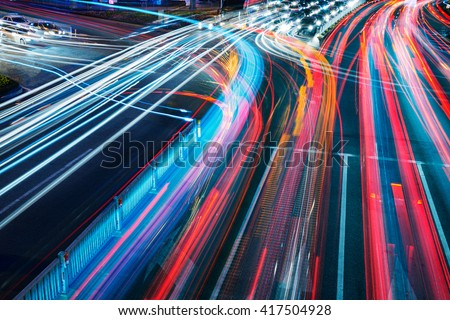 The car light trails in the city #417504928