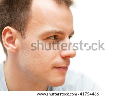 Horizontal closeup portrait of young blond man with short hair #41754466