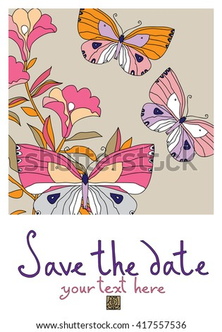 Vector floral card with blooming flowers and flying butterflies. #417557536