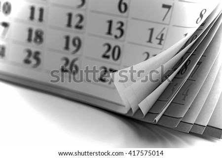 page of calendar. Old style, black - white photo.