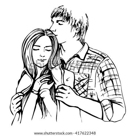 Couple hugging and flirting. Hand drawn vector illustration #417622348