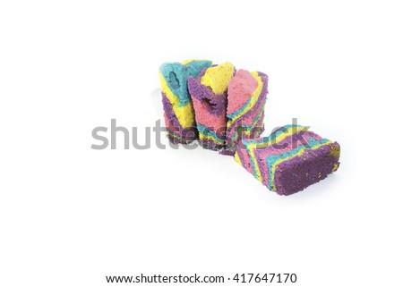 Colourful homemade cake  isolated on white background. #417647170