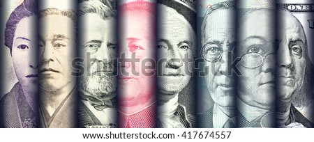 Portraits / images / faces of famous leader on banknotes, currencies of the most dominant countries in the world i.e. Japanese yen, US dollar, Chinese yuan, Australian dollar. Financial concept. Royalty-Free Stock Photo #417674557