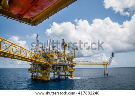 Offshore construction platform for production oil and gas, Oil and gas industry and hard work, Production platform and operation process by manual and auto function #417682240
