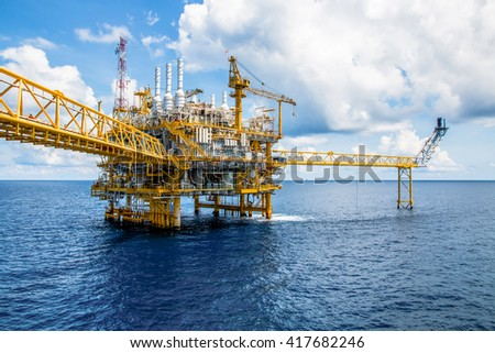 Offshore construction platform for production oil and gas, Oil and gas industry and hard work, Production platform and operation process by manual and auto function #417682246