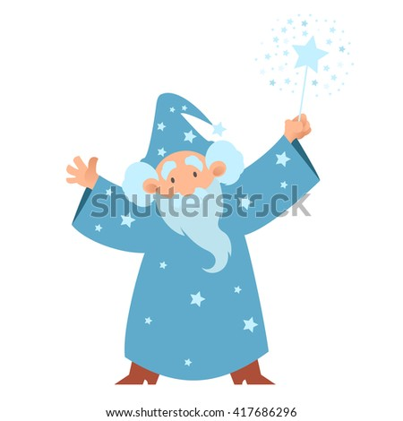 Vector image of a cartoon Wizard with his wand