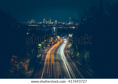 London - Long Exposure - City - Trails - Light Painting - Night - Summer - Lights Royalty-Free Stock Photo #417693727