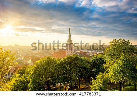 Bratislava cityscape view on the old town with Saint Martin's cathedral tower from the castle hill on the morning in Slovakia #417785371