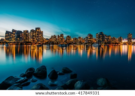 Vancouver skyline reflection at sunset