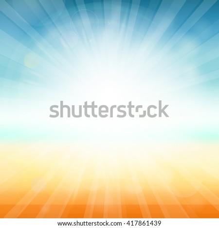 Summer time background - illustration. Vector illustration of a glowing Summer time background