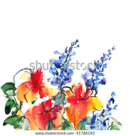 """floral  watercolor llustration Album """"Bouquet of flowers"""".""""Blue flowers watercolor"""". #41788183"""