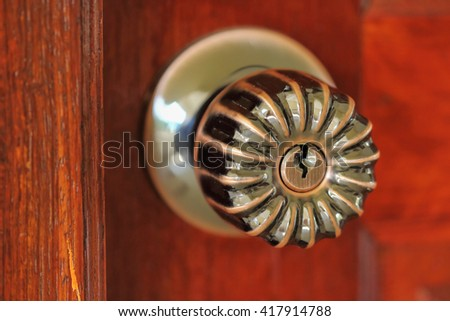 Doorknob , a hole for inserting the key . #417914788