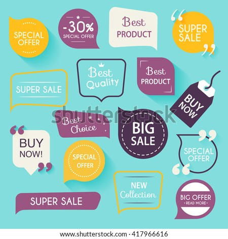Collection of premium promo seals/stickers. Isolated vector illustration. Royalty-Free Stock Photo #417966616