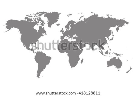 Gray blank vector world map. Isolated on white background. Royalty-Free Stock Photo #418128811