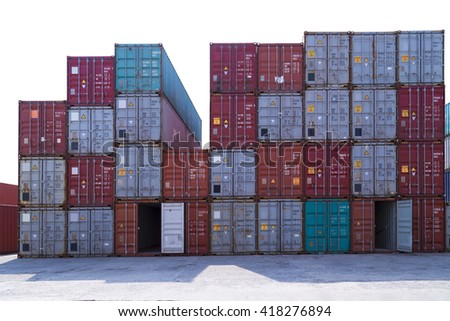 Industrial container close up in port. #418276894