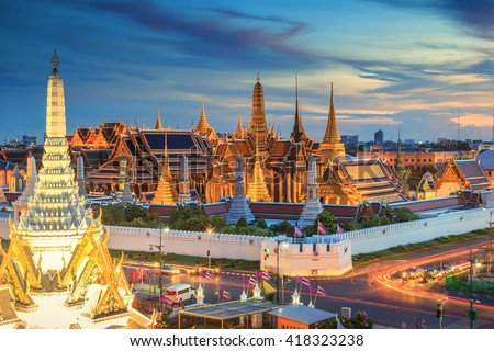 Grand palace and Wat phra keaw at sunset Bangkok, Thailand. Beautiful Landmark of Asia.  Temple of the Emerald Buddha. landscape of the capital city. view of thailand Royalty-Free Stock Photo #418323238