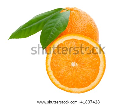 orange with leaves full and a half #41837428