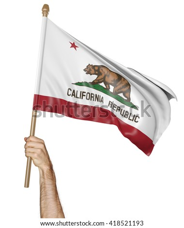 Hand proudly waving the state flag of California, 3D rendering #418521193