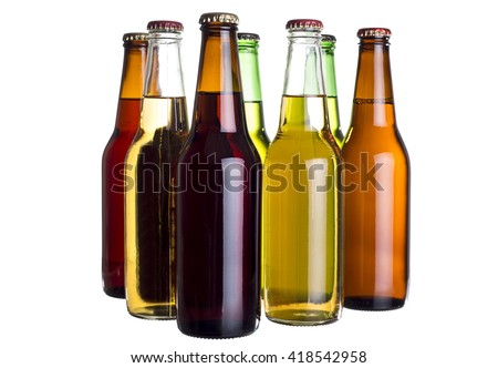 Group of unlabeled variety of beer bottles isolated on a white background.  The bottles are different colors to show variety. #418542958