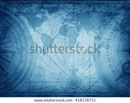 Old map of the world. Elements of this Image Furnished by NASA.