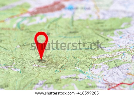Red pin, point on the abstract noname map. Concept travel background #418599205