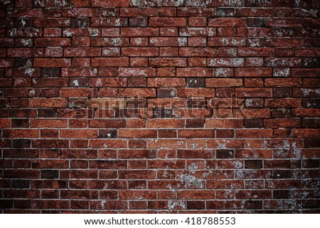 Brick wall background vintage and old structure pattern. #418788553