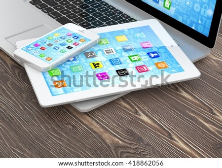 Laptop, phone and tablet pc. 3d rendering. #418862056