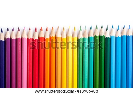 Color pencils isolated on white background.Close up. #418906408