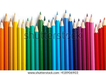 Color pencils isolated on white background.Close up. Royalty-Free Stock Photo #418906903