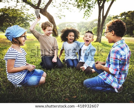 Kids Playing Cheerful Park Outdoors Concept #418932607