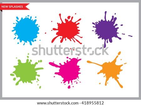 Colorful paint splatters.Paint splashes set.Vector illustration.
