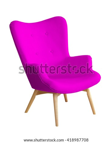 Purple color chair, modern designer chair isolated on white background. Textile chair cut out. Series of furniture #418987708