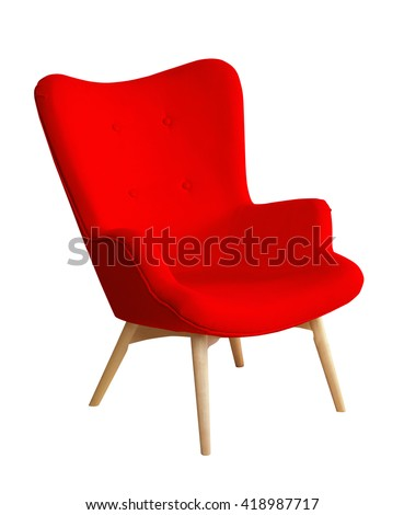 Red color chair, modern designer chair isolated on white background. Textile chair cut out. Series of furniture #418987717