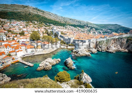 Panorama of old town of Dubrovnik in Croatia #419000635