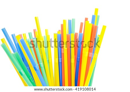 funny colorful drinking straw against white  #419108014